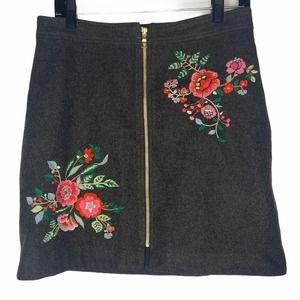 Loft embroidered floral zipper a-line skirt